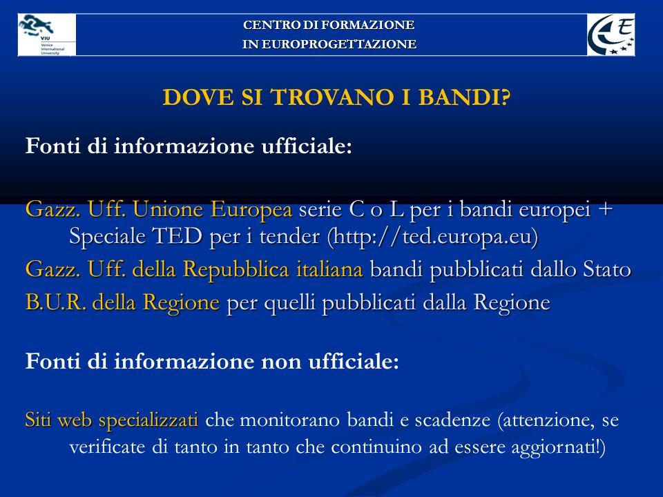 DOVE SI TROVANO I BANDI? Fonti di informazione ufficiale: Gazz. Uff. Unione Europea serie C o L per i bandi europei + Speciale TED per i tender (http: