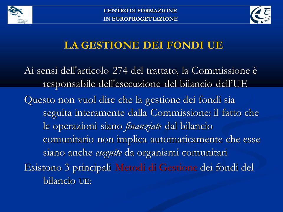 LA GESTIONE DEI FONDI UE Ai sensi dell'articolo 274 del trattato, la Commissione è responsabile dell'esecuzione del bilancio dell'UE Questo non vuol d