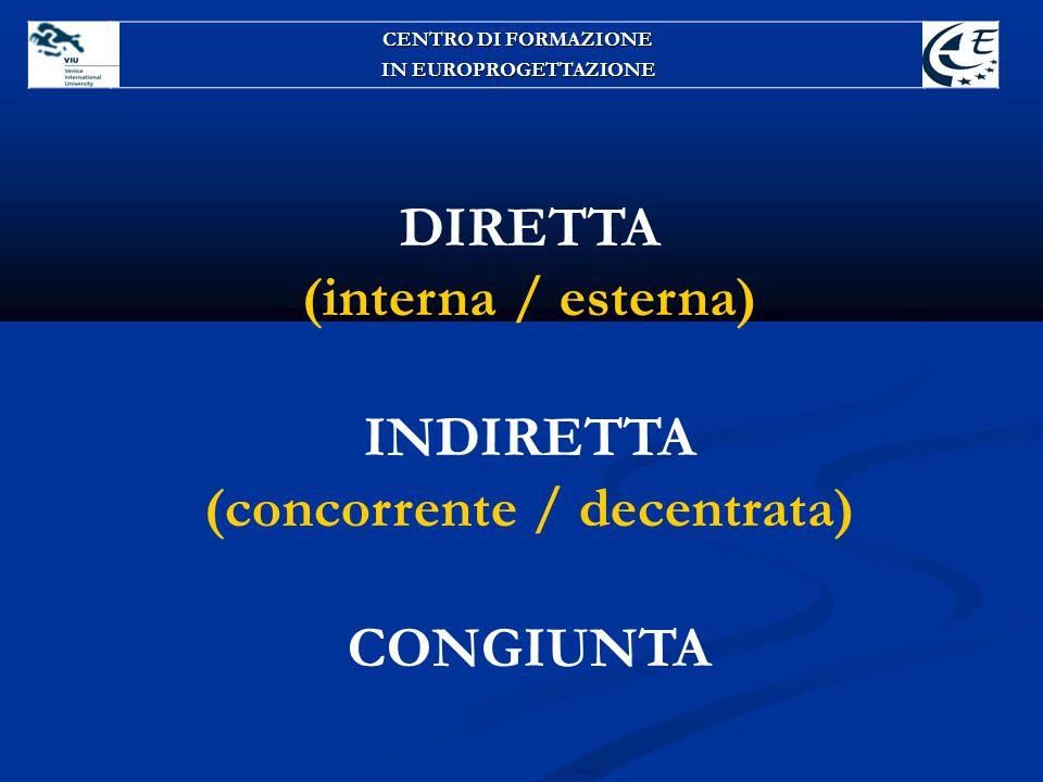 DIRETTA (interna / esterna) INDIRETTA (concorrente / decentrata) CONGIUNTA CENTRO DI FORMAZIONE IN EUROPROGETTAZIONE