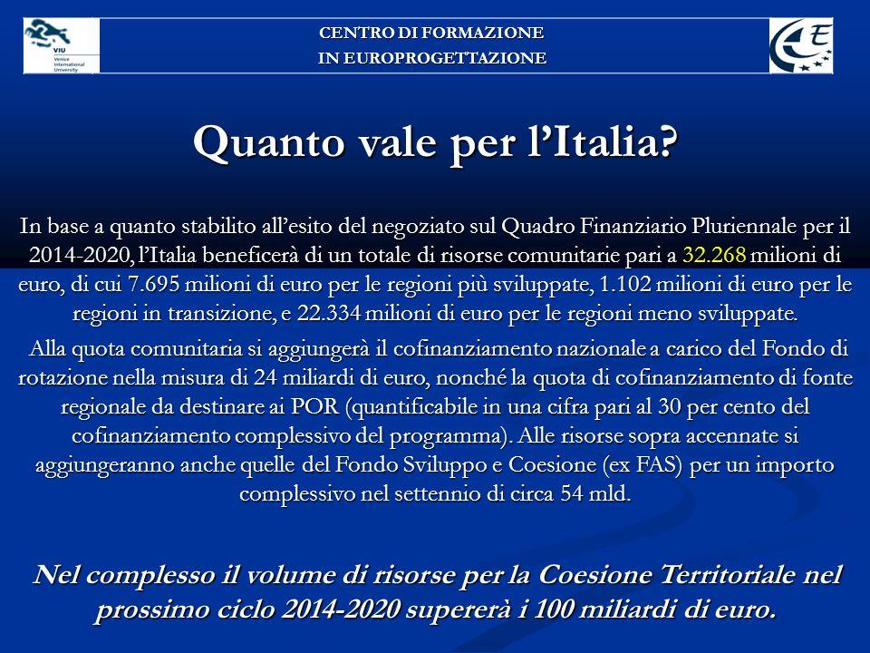 Quanto vale per l'Italia? In base a quanto stabilito all'esito del negoziato sul Quadro Finanziario Pluriennale per il 2014-2020, l'Italia beneficerà