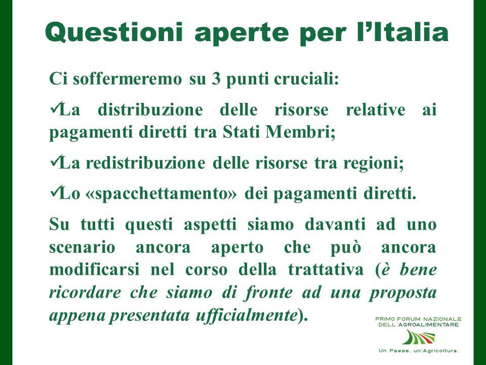 Questioni aperte per l'Italia Ci soffermeremo su 3 punti cruciali: La distribuzione delle risorse relative ai pagamenti diretti tra Stati Membri; La redistribuzione delle risorse tra regioni; Lo «spacchettamento» dei pagamenti diretti.