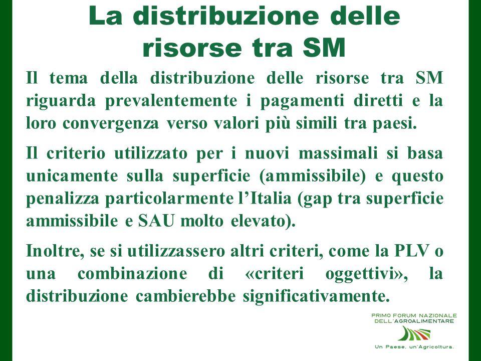 La distribuzione delle risorse tra SM Il tema della distribuzione delle risorse tra SM riguarda prevalentemente i pagamenti diretti e la loro convergenza verso valori più simili tra paesi.