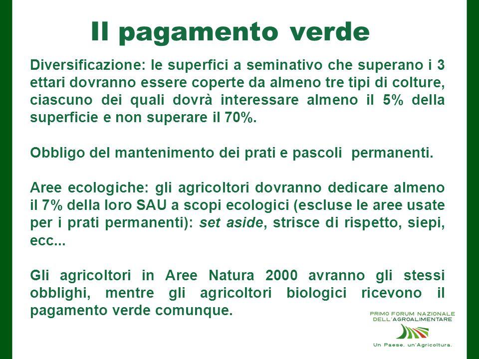 Il pagamento verde Diversificazione: le superfici a seminativo che superano i 3 ettari dovranno essere coperte da almeno tre tipi di colture, ciascuno dei quali dovrà interessare almeno il 5% della superficie e non superare il 70%.