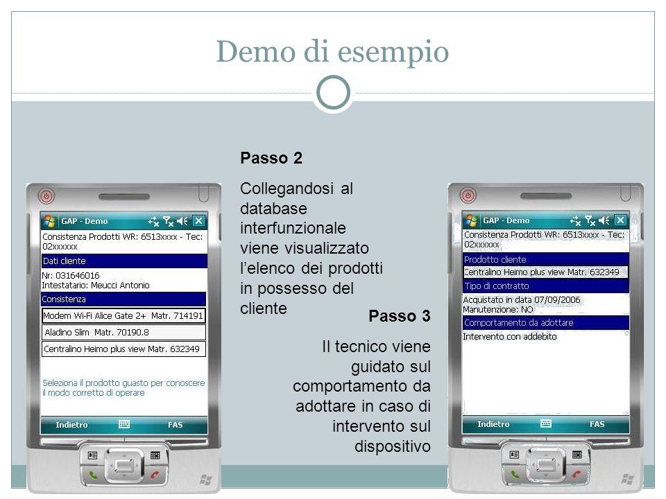 Demo di esempio Passo 2 Collegandosi al database interfunzionale viene visualizzato l'elenco dei prodotti in possesso del cliente Passo 3 Il tecnico viene guidato sul comportamento da adottare in caso di intervento sul dispositivo