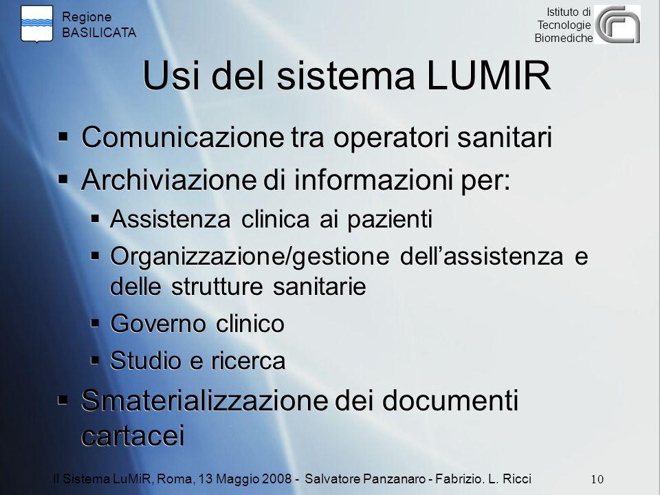 Regione BASILICATA Istituto di Tecnologie Biomediche Usi del sistema LUMIR  Comunicazione tra operatori sanitari  Archiviazione di informazioni per: