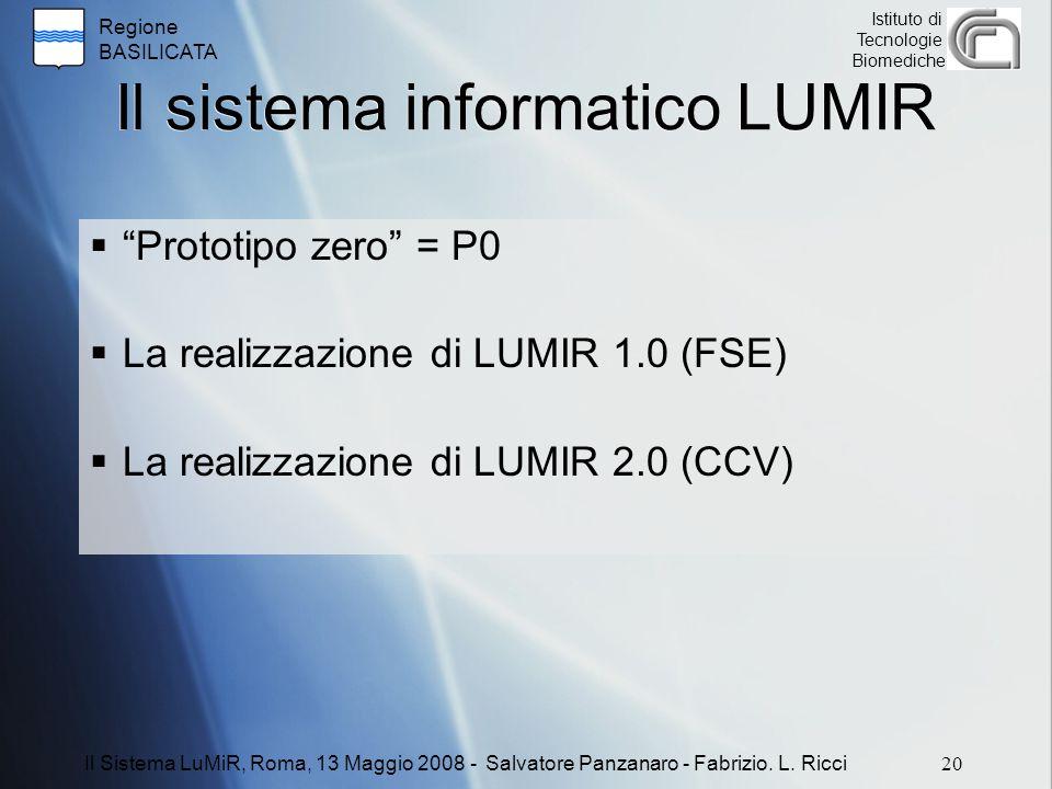 Regione BASILICATA Istituto di Tecnologie Biomediche Il sistema informatico LUMIR  Prototipo zero = P0  La realizzazione di LUMIR 1.0 (FSE)  La realizzazione di LUMIR 2.0 (CCV) 20 Il Sistema LuMiR, Roma, 13 Maggio 2008 - Salvatore Panzanaro - Fabrizio.