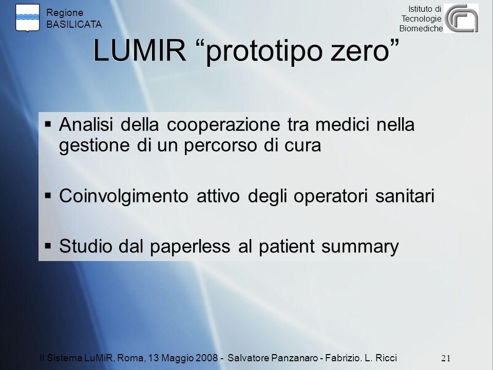 """Regione BASILICATA Istituto di Tecnologie Biomediche LUMIR """"prototipo zero""""  Analisi della cooperazione tra medici nella gestione di un percorso di c"""