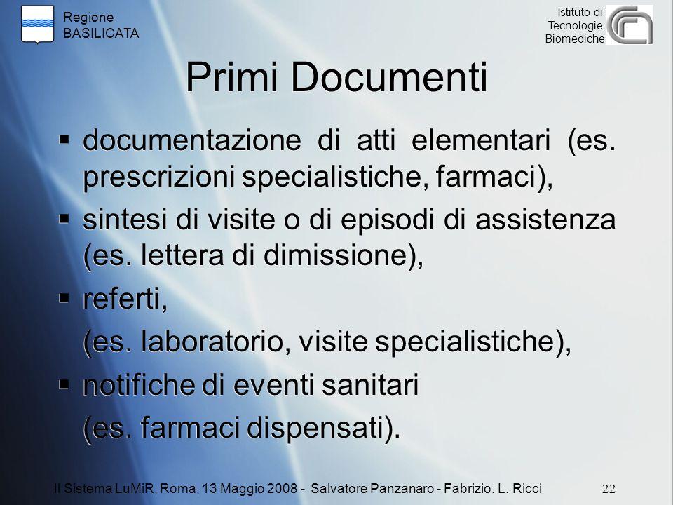 Regione BASILICATA Istituto di Tecnologie Biomediche Primi Documenti  documentazione di atti elementari (es. prescrizioni specialistiche, farmaci), 