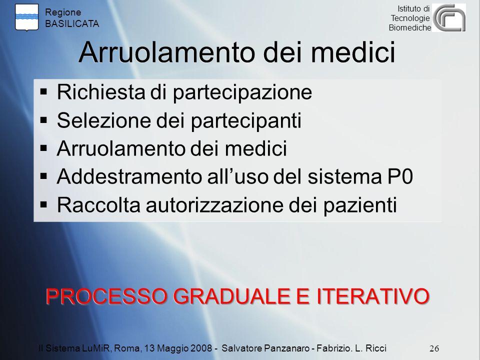 Regione BASILICATA Istituto di Tecnologie Biomediche Arruolamento dei medici  Richiesta di partecipazione  Selezione dei partecipanti  Arruolamento