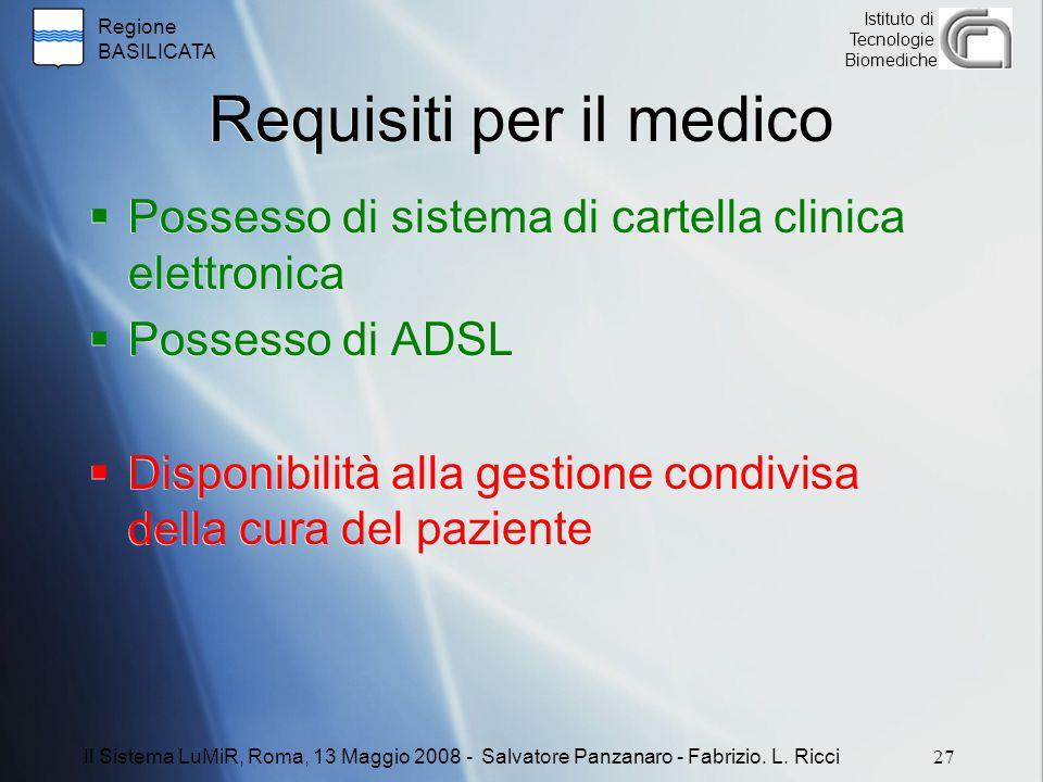 Regione BASILICATA Istituto di Tecnologie Biomediche Requisiti per il medico  Possesso di sistema di cartella clinica elettronica  Possesso di ADSL