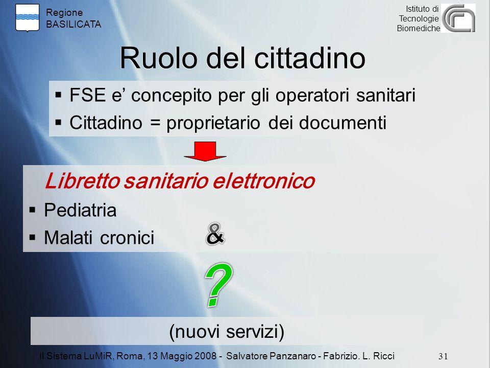 Regione BASILICATA Istituto di Tecnologie Biomediche Ruolo del cittadino  FSE e' concepito per gli operatori sanitari  Cittadino = proprietario dei documenti Libretto sanitario elettronico  Pediatria  Malati cronici 31 Il Sistema LuMiR, Roma, 13 Maggio 2008 - Salvatore Panzanaro - Fabrizio.