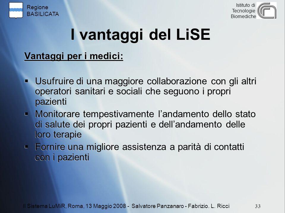 Regione BASILICATA Istituto di Tecnologie Biomediche I vantaggi del LiSE Vantaggi per i medici:  Usufruire di una maggiore collaborazione con gli alt