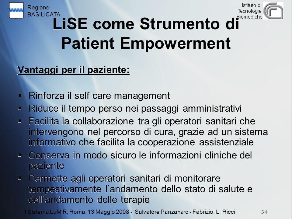 Regione BASILICATA Istituto di Tecnologie Biomediche LiSE come Strumento di Patient Empowerment Vantaggi per il paziente:  Rinforza il self care mana