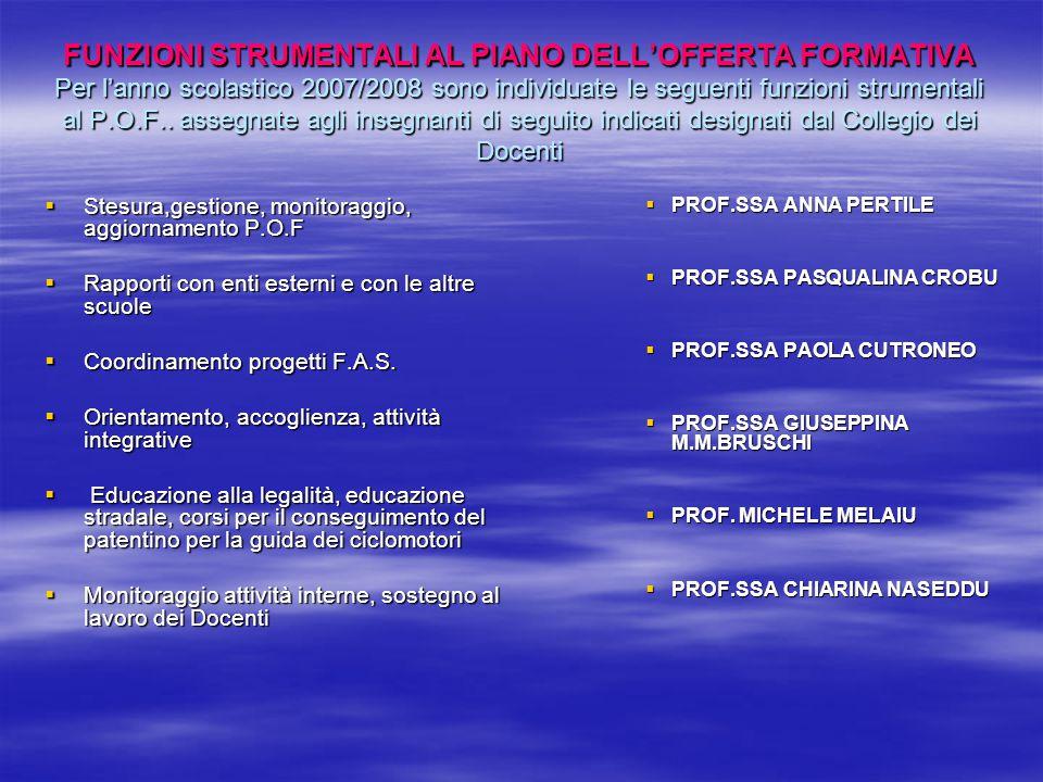 FUNZIONI STRUMENTALI AL PIANO DELL'OFFERTA FORMATIVA Per l'anno scolastico 2007/2008 sono individuate le seguenti funzioni strumentali al P.O.F.. asse