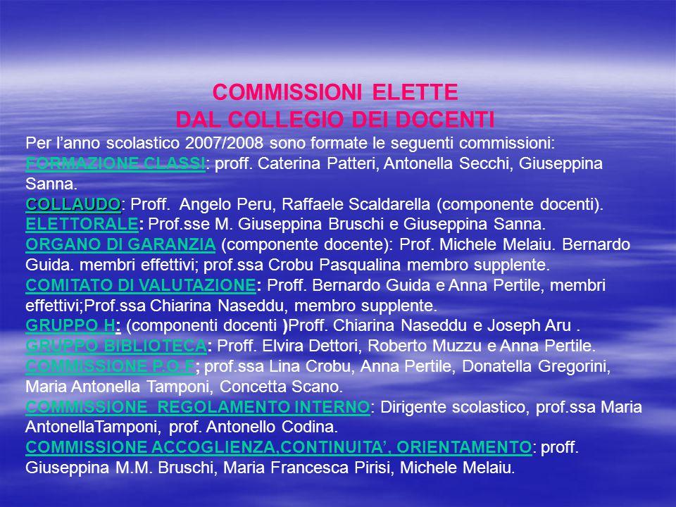 COMMISSIONI ELETTE DAL COLLEGIO DEI DOCENTI Per l'anno scolastico 2007/2008 sono formate le seguenti commissioni: FORMAZIONE CLASSI: proff. Caterina P