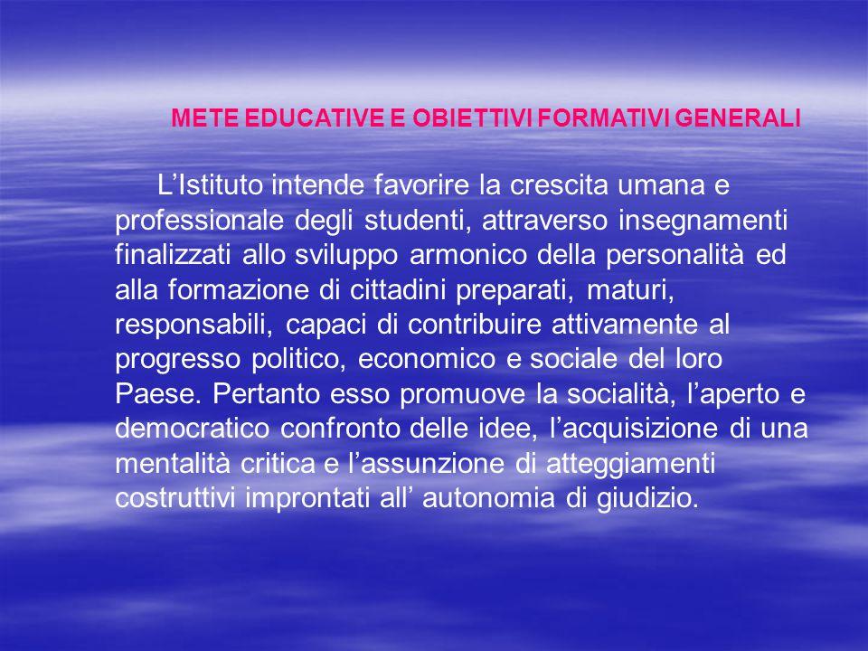 METE EDUCATIVE E OBIETTIVI FORMATIVI GENERALI L'Istituto intende favorire la crescita umana e professionale degli studenti, attraverso insegnamenti fi