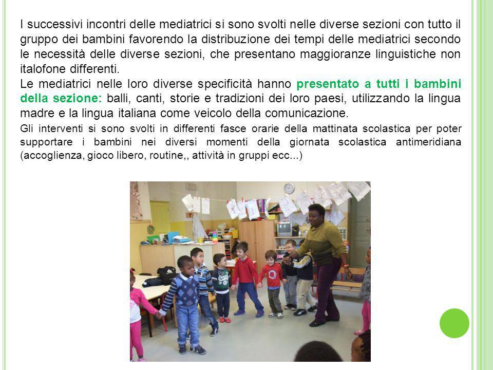 I successivi incontri delle mediatrici si sono svolti nelle diverse sezioni con tutto il gruppo dei bambini favorendo la distribuzione dei tempi delle