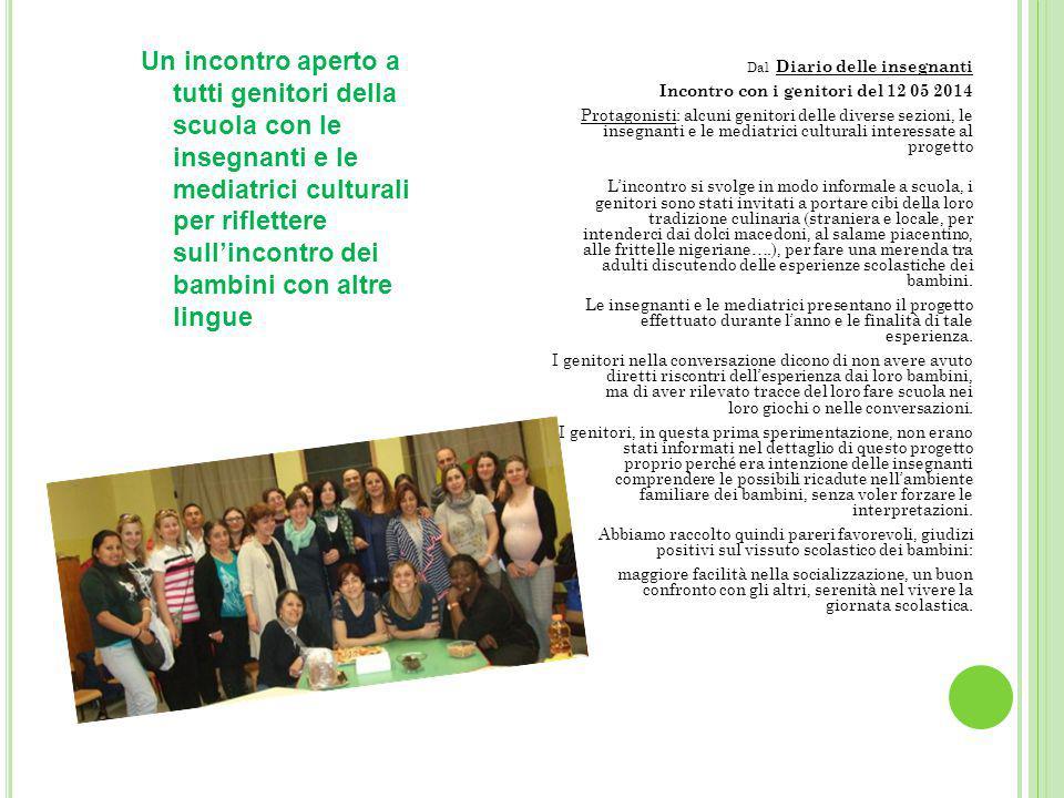 Dal Diario delle insegnanti Incontro con i genitori del 12 05 2014 Protagonisti: alcuni genitori delle diverse sezioni, le insegnanti e le mediatrici