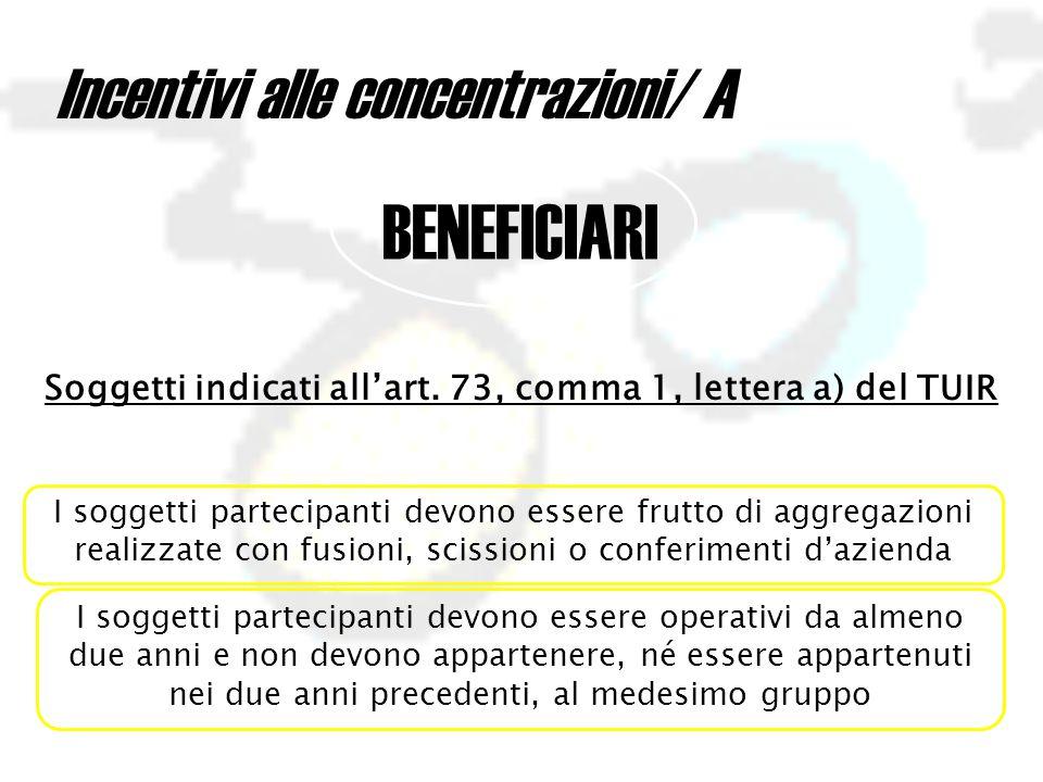 Incentivi alle concentrazioni/ A BENEFICIARI Soggetti indicati all'art.
