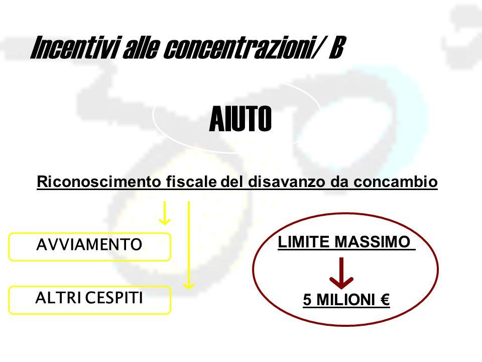 Incentivi alle concentrazioni/ B AIUTO Riconoscimento fiscale del disavanzo da concambio LIMITE MASSIMO 5 MILIONI € AVVIAMENTO ALTRI CESPITI