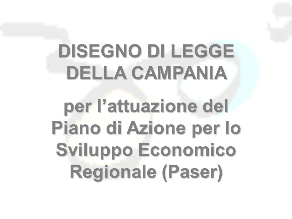 DISEGNO DI LEGGE DELLA CAMPANIA per l'attuazione del Piano di Azione per lo Sviluppo Economico Regionale (Paser)