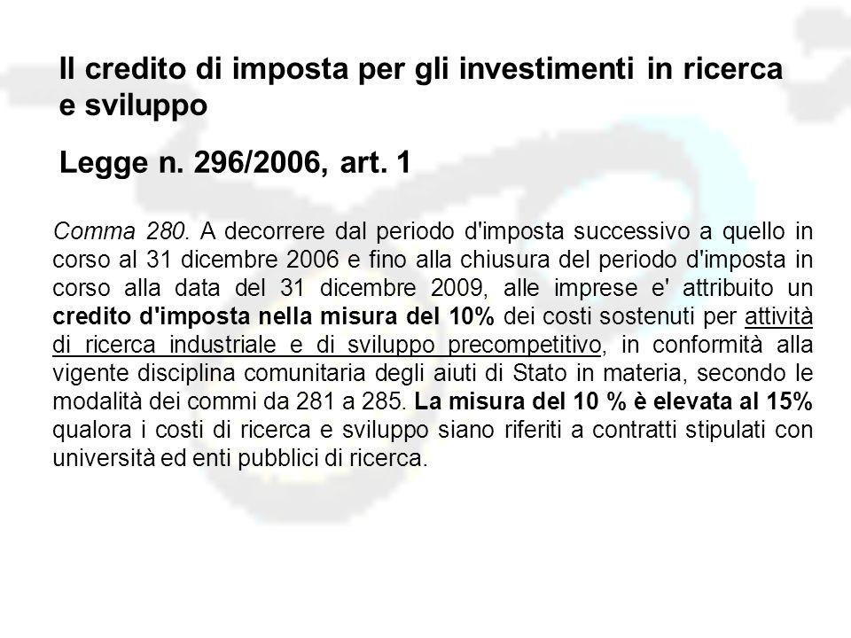 Il credito di imposta per gli investimenti in ricerca e sviluppo Legge n.