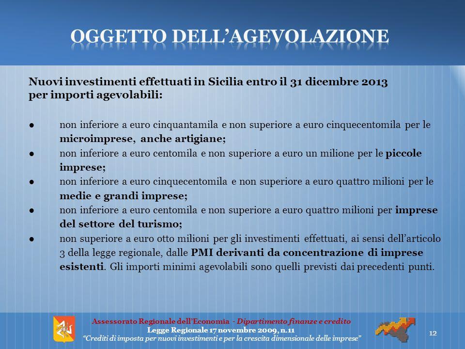 Nuovi investimenti effettuati in Sicilia entro il 31 dicembre 2013 per importi agevolabili: ●non inferiore a euro cinquantamila e non superiore a euro