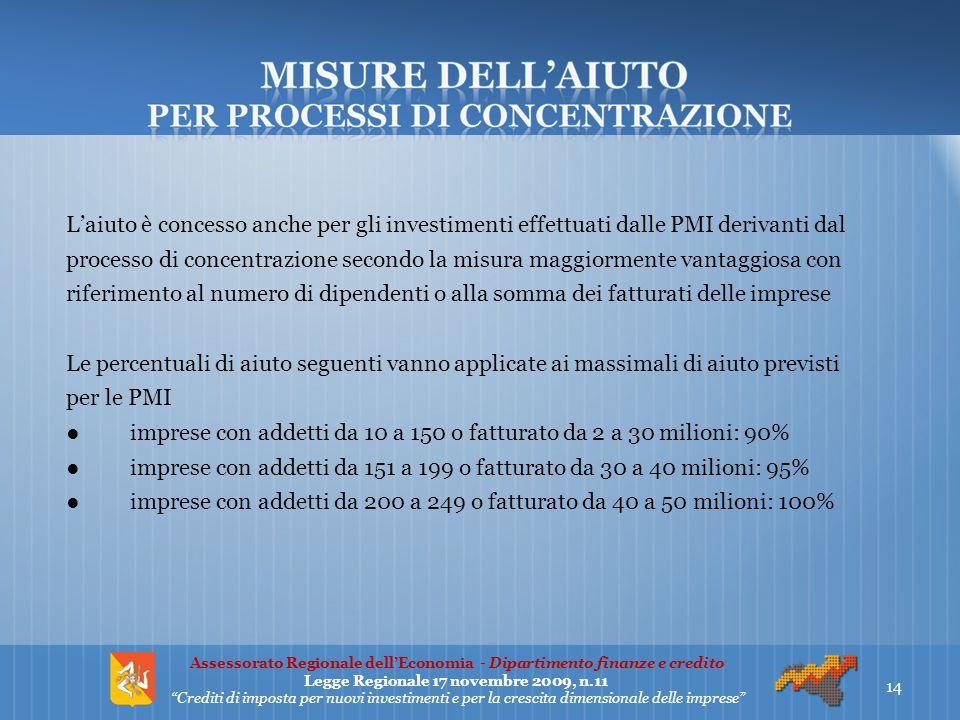 L'aiuto è concesso anche per gli investimenti effettuati dalle PMI derivanti dal processo di concentrazione secondo la misura maggiormente vantaggiosa