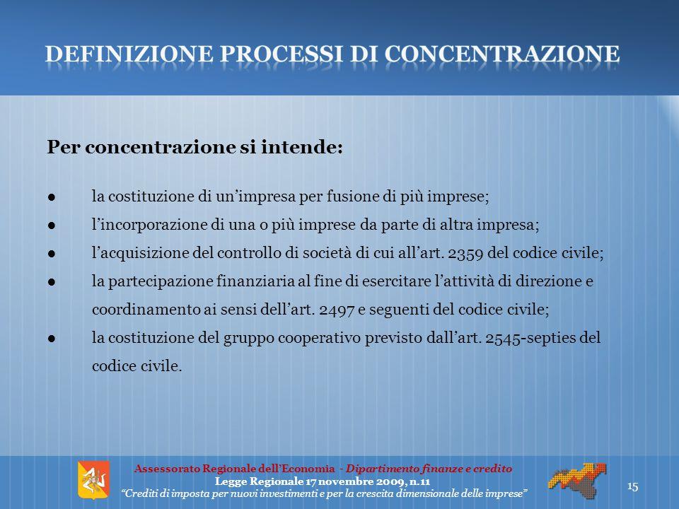 Per concentrazione si intende: ●la costituzione di un'impresa per fusione di più imprese; ●l'incorporazione di una o più imprese da parte di altra imp