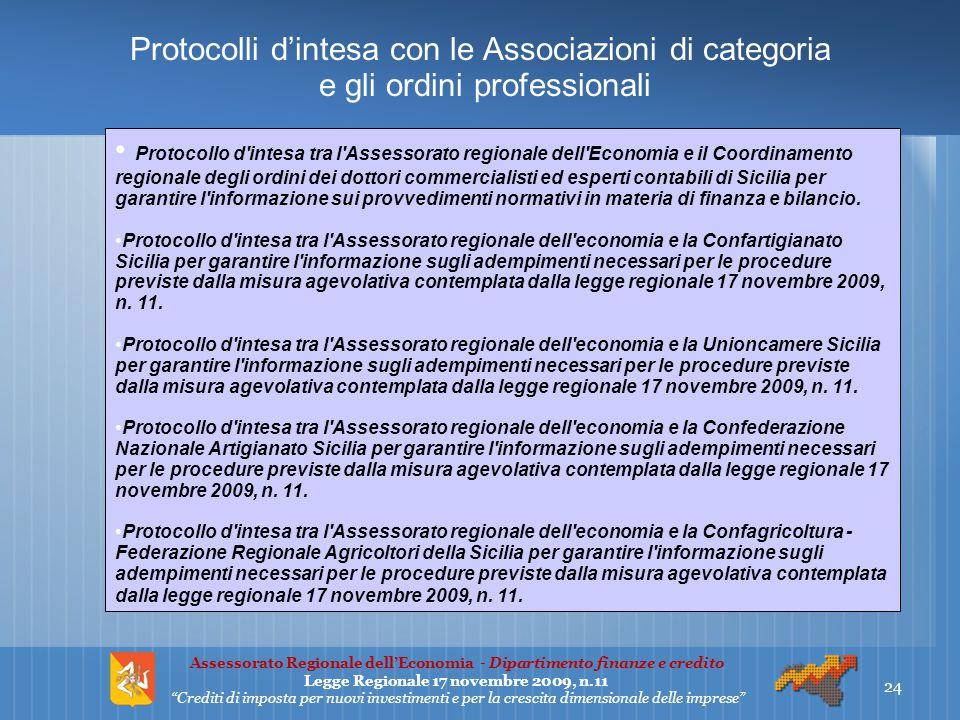 Protocolli d'intesa con le Associazioni di categoria e gli ordini professionali 24 Assessorato Regionale dell'Economia - Dipartimento finanze e credit