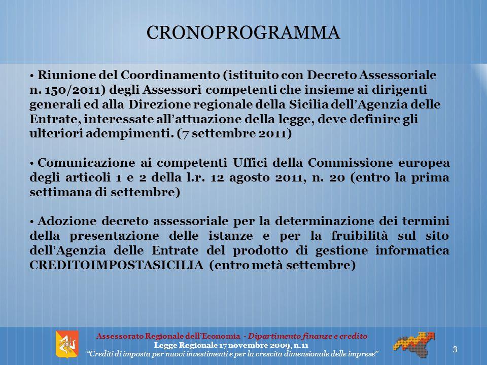 CRONOPROGRAMMA Riunione del Coordinamento (istituito con Decreto Assessoriale n. 150/2011) degli Assessori competenti che insieme ai dirigenti general