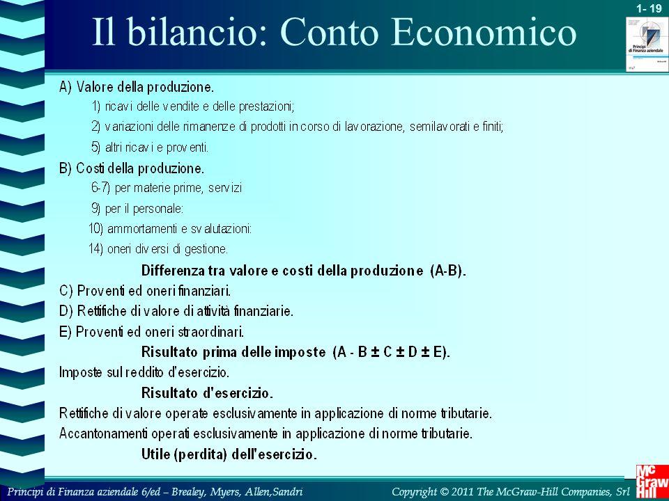1- 19 Copyright © 2011 The McGraw-Hill Companies, SrlPrincipi di Finanza aziendale 6/ed – Brealey, Myers, Allen,Sandri Il bilancio: Conto Economico