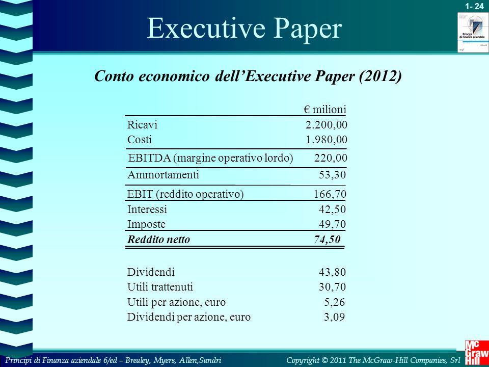 1- 24 Copyright © 2011 The McGraw-Hill Companies, SrlPrincipi di Finanza aziendale 6/ed – Brealey, Myers, Allen,Sandri Executive Paper Conto economico