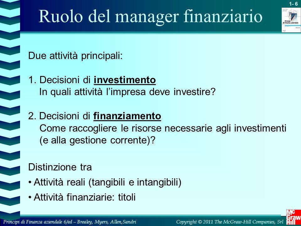 1- 7 Copyright © 2011 The McGraw-Hill Companies, SrlPrincipi di Finanza aziendale 6/ed – Brealey, Myers, Allen,Sandri Ruolo del manager finanziario Manager finanziario Attività reali dell'impresa Mercati finanziari (1)Fondi raccolti presso gli investitori (2)Fondi investiti nelle attività reali (3)Fondi generati dalla gestione (4a) Fondi reinvestiti (4b) Fondi restituiti agli investitori (1) (4a) (2) (3) (4b)