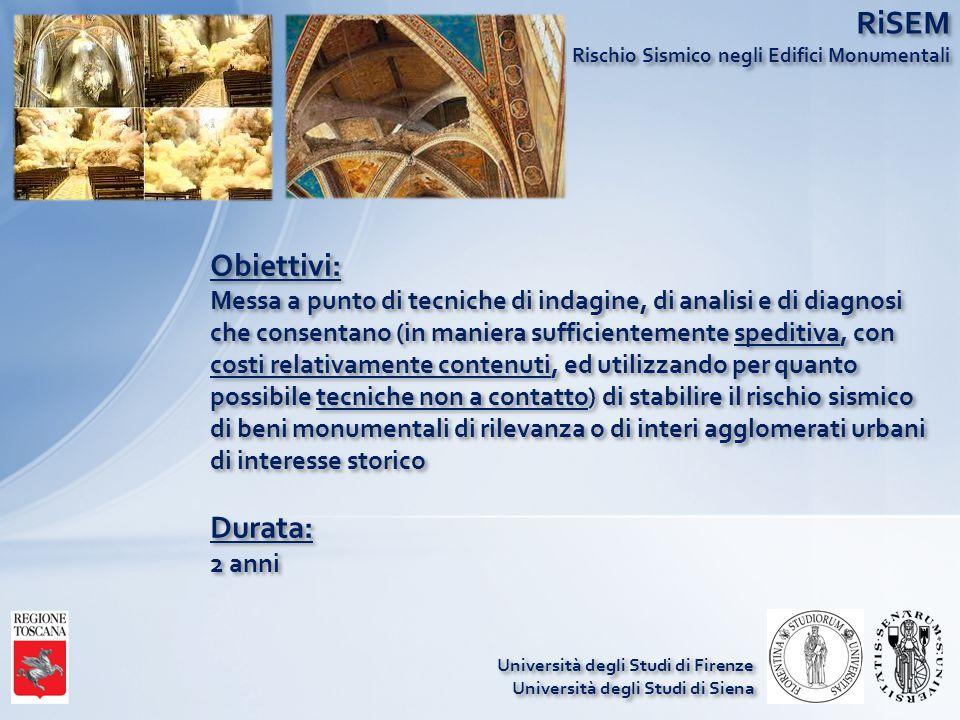 RiSEM Rischio Sismico negli Edifici Monumentali Obiettivi: Messa a punto di tecniche di indagine, di analisi e di diagnosi che consentano (in maniera