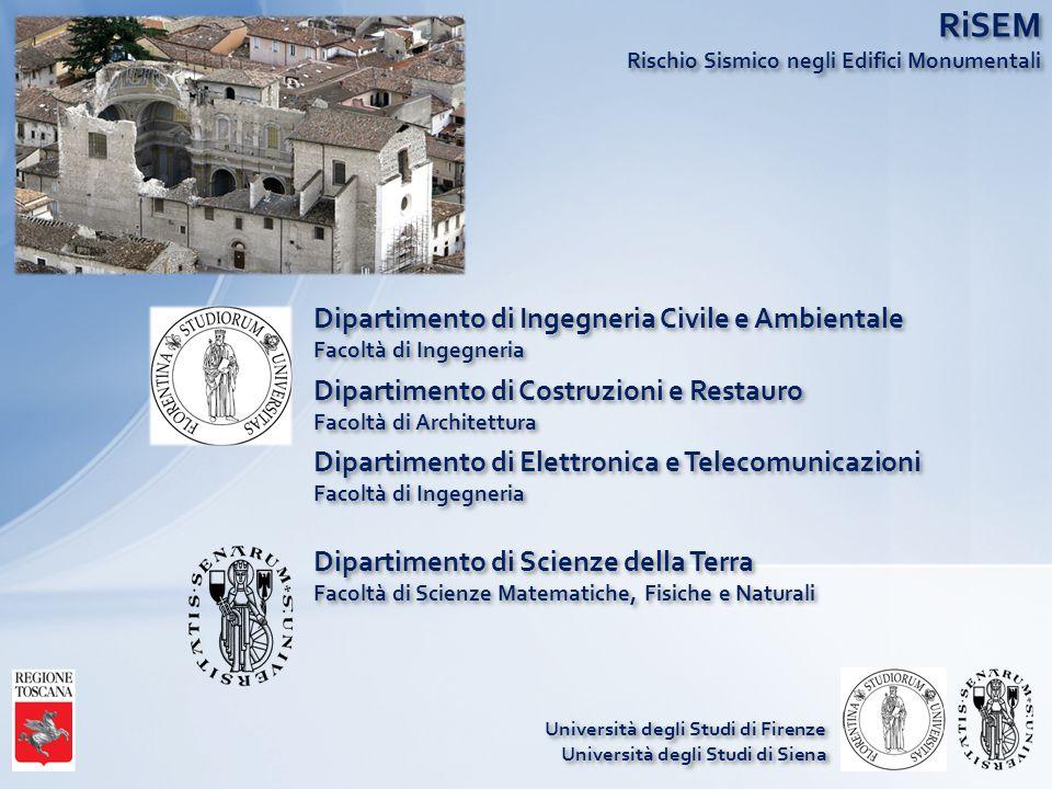 RiSEM Rischio Sismico negli Edifici Monumentali Dipartimento di Ingegneria Civile e Ambientale Facoltà di Ingegneria Dipartimento di Costruzioni e Res