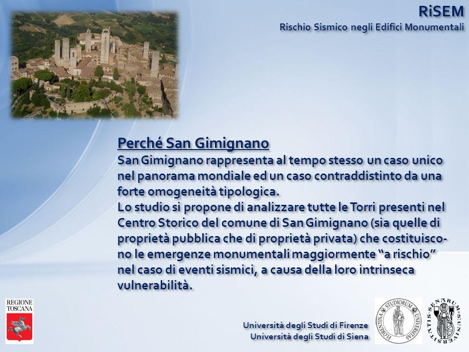 RiSEM Rischio Sismico negli Edifici Monumentali Perché San Gimignano San Gimignano rappresenta al tempo stesso un caso unico nel panorama mondiale ed un caso contraddistinto da una forte omogeneità tipologica.