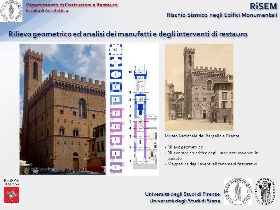 RiSEM Rischio Sismico negli Edifici Monumentali Rilievo geometrico ed analisi dei manufatti e degli interventi di restauro Dipartimento di Costruzioni