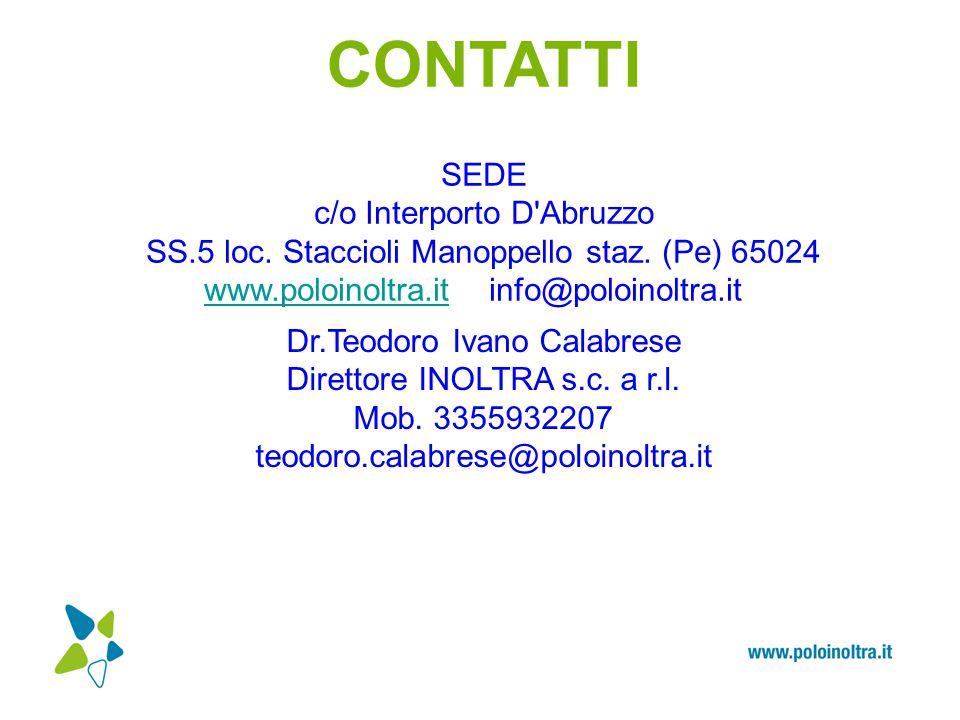CONTATTI SEDE c/o Interporto D'Abruzzo SS.5 loc. Staccioli Manoppello staz. (Pe) 65024 www.poloinoltra.itwww.poloinoltra.it info@poloinoltra.it Dr.Teo