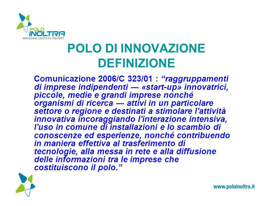 """POLO DI INNOVAZIONE DEFINIZIONE Comunicazione 2006/C 323/01 : """"raggruppamenti di imprese indipendenti ― «start-up» innovatrici, piccole, medie e grand"""