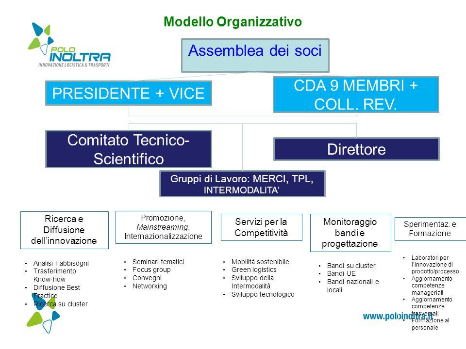 Modello Organizzativo Assemblea dei soci PRESIDENTE + VICE CDA 9 MEMBRI + COLL. REV. Direttore Comitato Tecnico- Scientifico Gruppi di Lavoro: MERCI,
