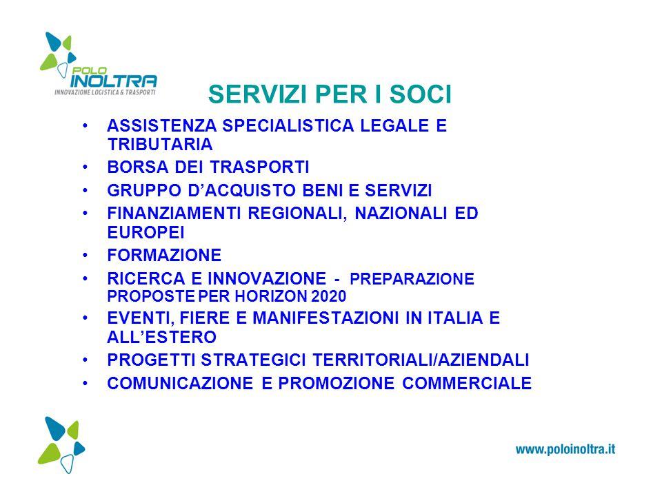 SERVIZI PER I SOCI ASSISTENZA SPECIALISTICA LEGALE E TRIBUTARIA BORSA DEI TRASPORTI GRUPPO D'ACQUISTO BENI E SERVIZI FINANZIAMENTI REGIONALI, NAZIONALI ED EUROPEI FORMAZIONE RICERCA E INNOVAZIONE - PREPARAZIONE PROPOSTE PER HORIZON 2020 EVENTI, FIERE E MANIFESTAZIONI IN ITALIA E ALL'ESTERO PROGETTI STRATEGICI TERRITORIALI/AZIENDALI COMUNICAZIONE E PROMOZIONE COMMERCIALE