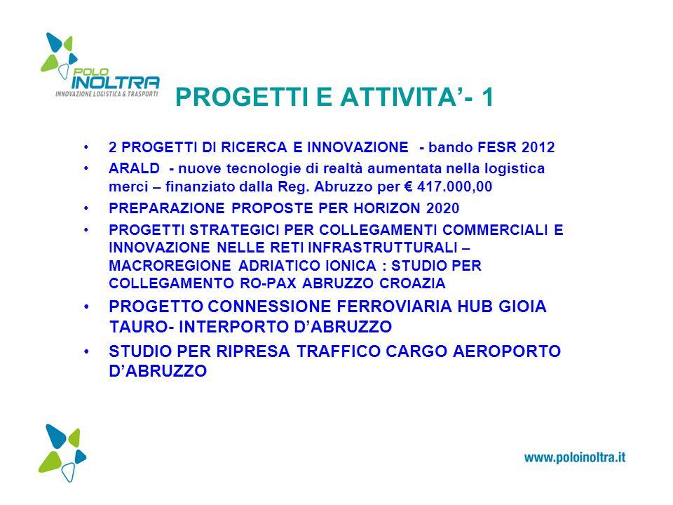 PROGETTI E ATTIVITA'- 1 2 PROGETTI DI RICERCA E INNOVAZIONE - bando FESR 2012 ARALD - nuove tecnologie di realtà aumentata nella logistica merci – finanziato dalla Reg.