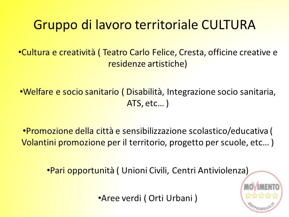 Gruppo di lavoro territoriale CULTURA Cultura e creatività ( Teatro Carlo Felice, Cresta, officine creative e residenze artistiche) Welfare e socio sa