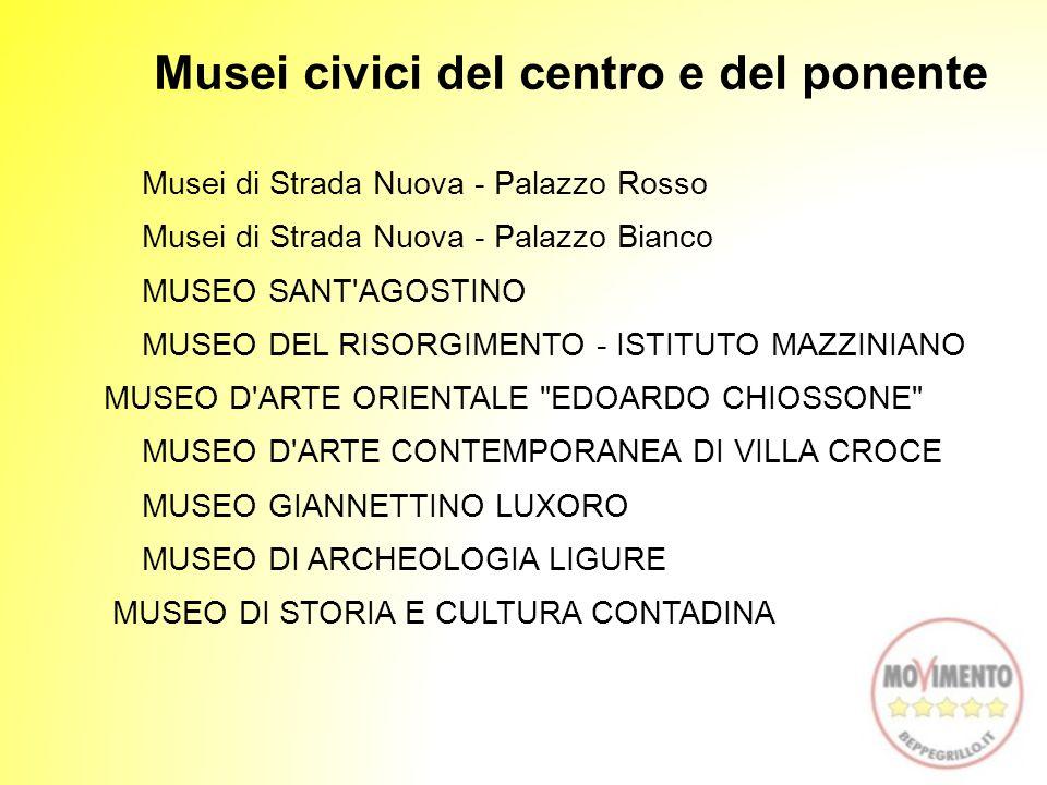 Musei civici del centro e del ponente Musei di Strada Nuova - Palazzo Rosso Musei di Strada Nuova - Palazzo Bianco MUSEO SANT'AGOSTINO MUSEO DEL RISOR
