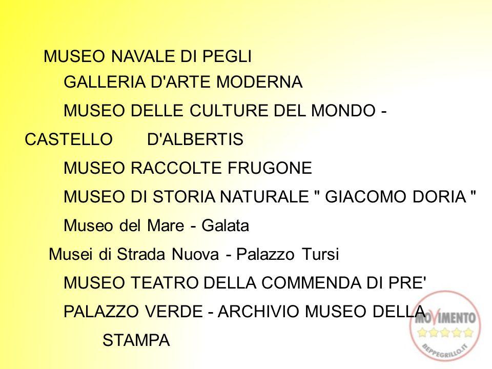 MUSEO NAVALE DI PEGLI GALLERIA D ARTE MODERNA MUSEO DELLE CULTURE DEL MONDO - CASTELLO D ALBERTIS MUSEO RACCOLTE FRUGONE MUSEO DI STORIA NATURALE GIACOMO DORIA Museo del Mare - Galata Musei di Strada Nuova - Palazzo Tursi MUSEO TEATRO DELLA COMMENDA DI PRE PALAZZO VERDE - ARCHIVIO MUSEO DELLA STAMPA