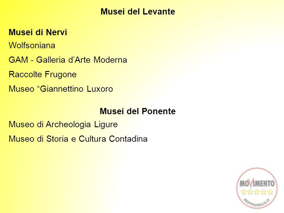 """Musei del Levante Musei di Nervi Wolfsoniana GAM - Galleria d'Arte Moderna Raccolte Frugone Museo """"Giannettino Luxoro Musei del Ponente Museo di Arche"""