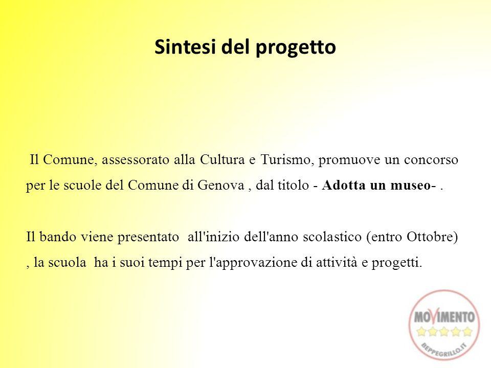 Il Comune, assessorato alla Cultura e Turismo, promuove un concorso per le scuole del Comune di Genova, dal titolo - Adotta un museo-. Il bando viene