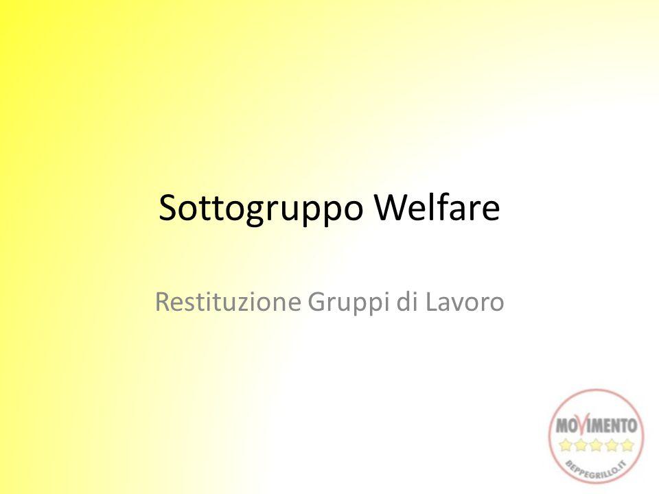 Sottogruppo Welfare Restituzione Gruppi di Lavoro