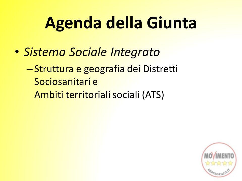 Agenda della Giunta Sistema Sociale Integrato – Struttura e geografia dei Distretti Sociosanitari e Ambiti territoriali sociali (ATS)